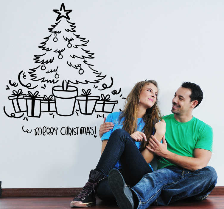 TenStickers. Christmas Tree Decorative Sticker. Are you still looking for the right Christmas decoration? With this vinyl decal you will make your home a very cosy place to be in.