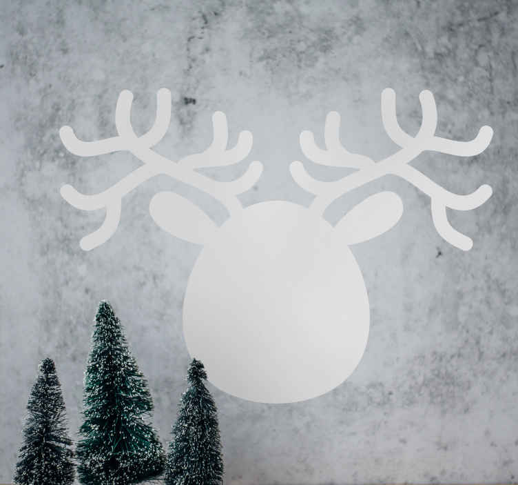TenStickers. Reindeer Face Silhouette Blackboard Sticker. Blackboard Stickers- Silhouette illustration of a the head of a reindeer.