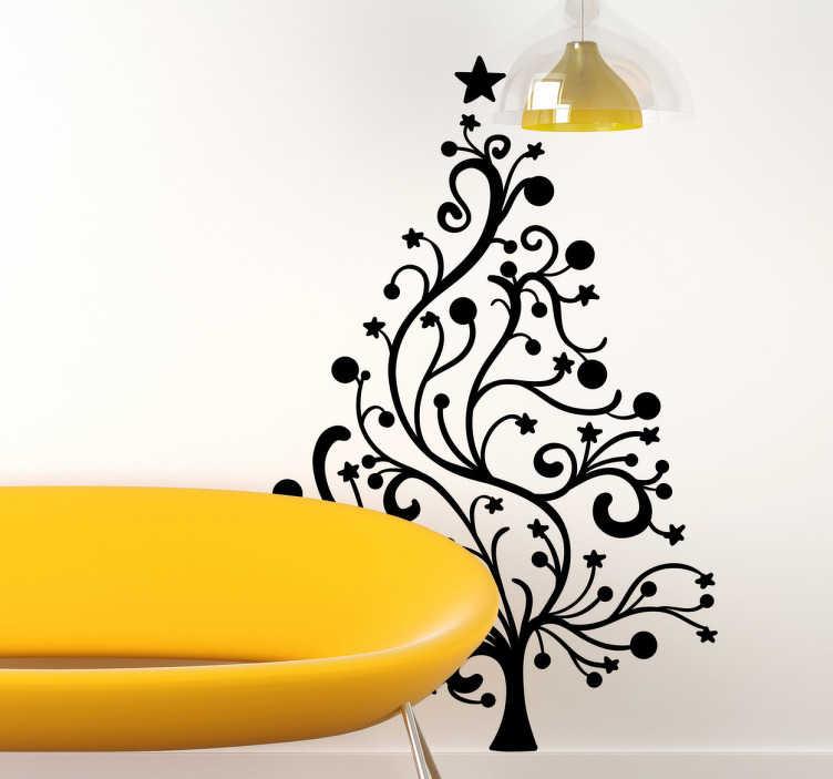 TenVinilo. Vinilo decorativo ilustración árbol. Ilustración de árbol navideño con finas ramas acabado con bolas navideñas y estrellas para personalizar tu hogar o tu negocio.