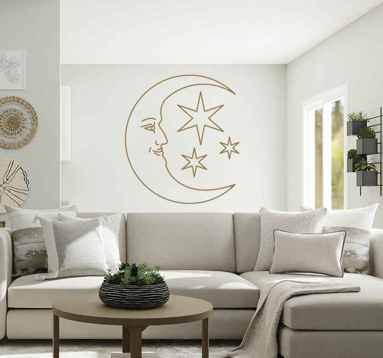TenStickers. Vinil decorativo cara lua. Vinil decorativo de uma ilustração da lua com uma cara e com uma estrela na ponta. Adesivo de parede para decoração de interiores.