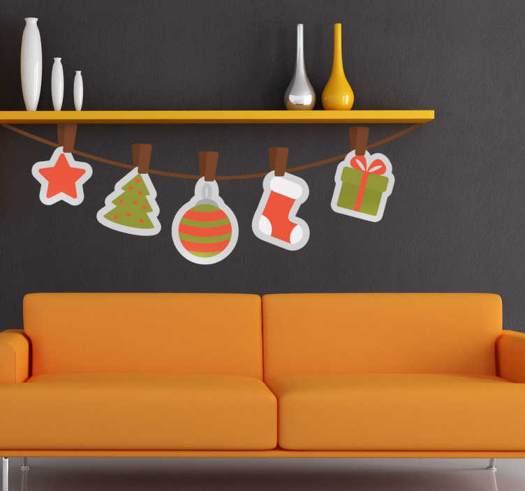 TenStickers. Hanging Christmas Ornament Decorative Decal. Have your own hanging decorations at home this Christmas with this fantastic decal from our collection of bunting wall stickers.