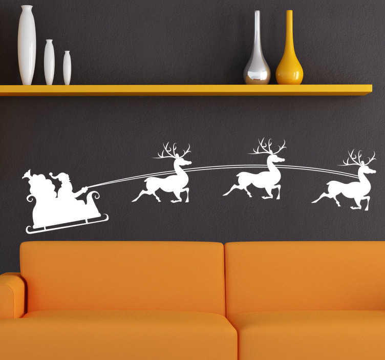 TenStickers. Santa and Reindeer Christmas Decal. Are you still looking for the perfect Christmas decoration for your home? How about this beautiful Xmas wall sticker illustrating Santa's sleigh with his reindeer pulling it along? Pick the colour that best fits your home and let yourself be touched by the magic of Christmas!