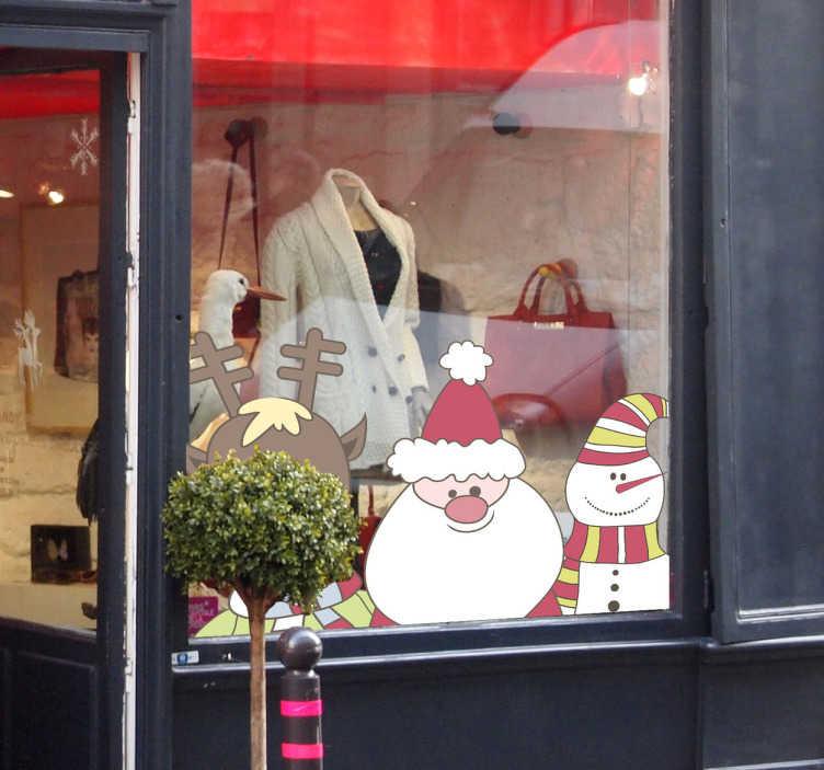 TenVinilo. Vinilo escaparate decoración navideña. Vinilo decorativo ideal para su negocio, para alegrar a sus clientes y ayudar a que entren en su tienda con el trio de papa noel, el reno y muñeco de nieve.