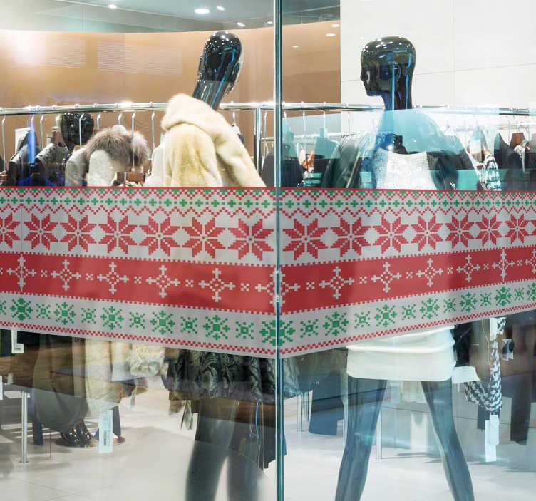 TenVinilo. Vinilo decorativo escaparate patrón navidad. Vinilo monocolor con multitud de piezas referentes a la navidad como arboles, galletas, palos de caramelo, regalos y mucho más. Ideales para tu negocio.