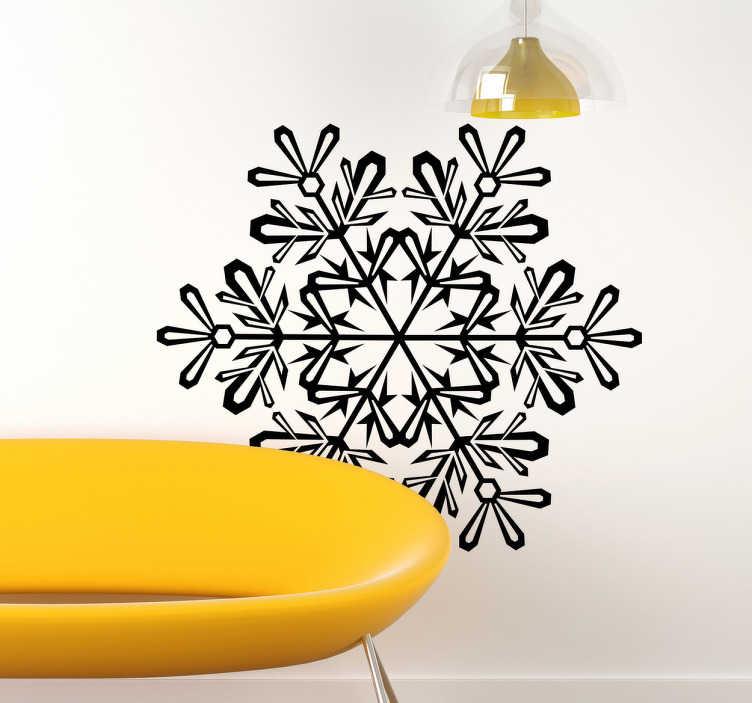 TenStickers. Wandtattoo Weihnachten Schneeflocke. Gestalten Sie Ihr Zuhause zu Weihnachten mit diesem schönen Wandattoo einer filligranen Schneeflocke, an der verschiedene Weihnachtsmotive hängen.