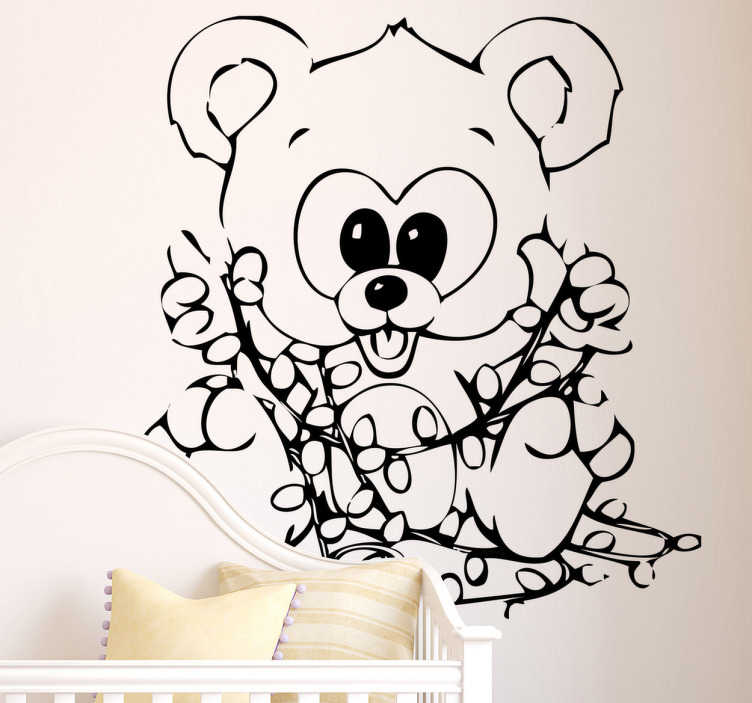 TenStickers. Bear with Christmas Lights Sticker. A cute children's sticker of a happy looking bear playing with some Christmas fairy lights.