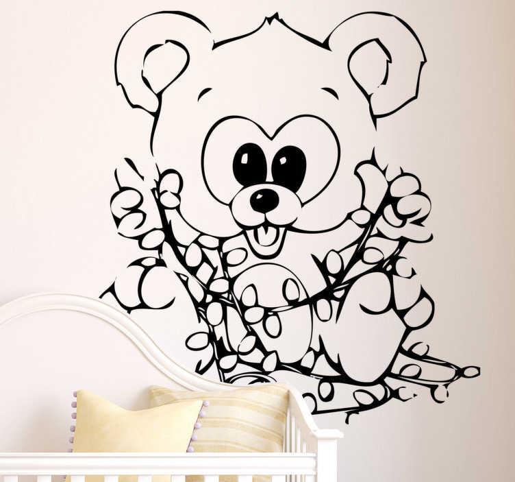 TenStickers. Wandtattoo Teddy mit Lichterkette. Gestalten Sie Ihr Zuhause zu Weihnachten mit diesem schönen Wandattoo eines Teddybären mit einer Lichterkette.
