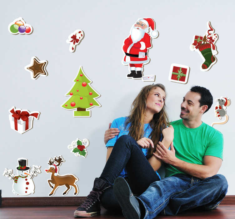 TenStickers. Christmas Collection of Decorative Stickers. Are you still looking for the right Christmas decoration? Personalise your home with this set of Christmas stickers.