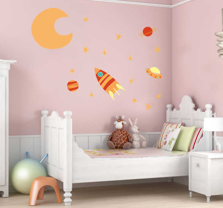 TenStickers. Kids Hot Space Wall Sticker. Kids Wall Stickers - A space sticker for kids containing the moon, stars, planets and spaceships. The warm colour tones creates a new universe for their bedroom.