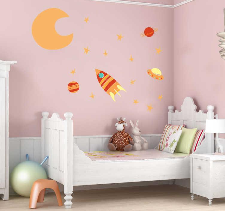 TenStickers. 아이들의 뜨거운 공간 벽 스티커. 어린이 벽 스티커 - 달, 별, 행성 및 우주선이 포함 된 어린이를위한 공간 스티커. 따뜻한 색조는 그들의 침실을위한 새로운 우주를 만듭니다.