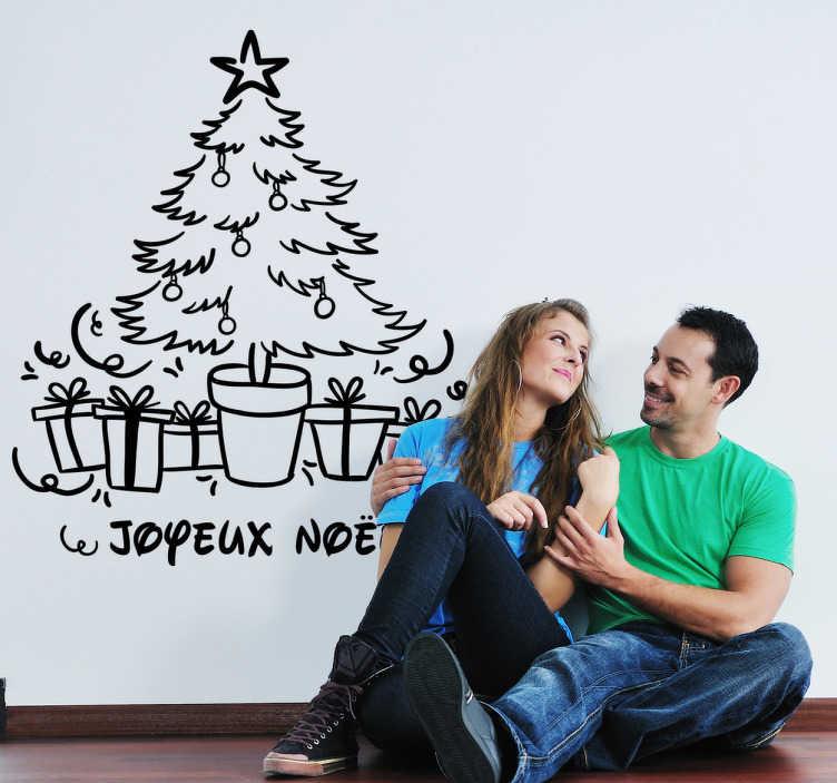 TenStickers. Sticker décoratif sapin de noël. Sticker décoratif sapin de noël qui va remplir votre maison avec le bonheur pendant ces jours spéciales.
