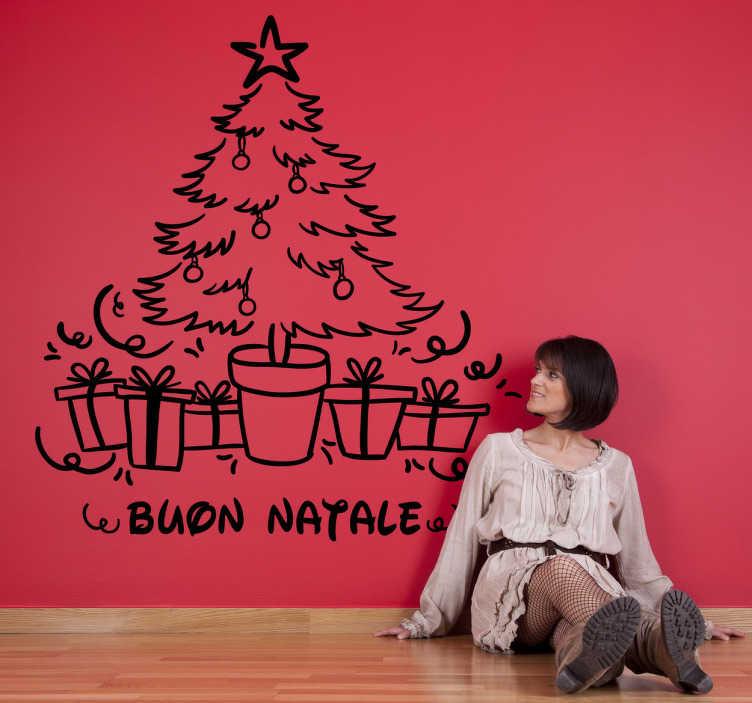 TenStickers. Adesivo decorativo albero di Natale. Sticker decorativo per personalizzare la tua casa con lo spirito natalizio che ti piace tanto in questo periodo.