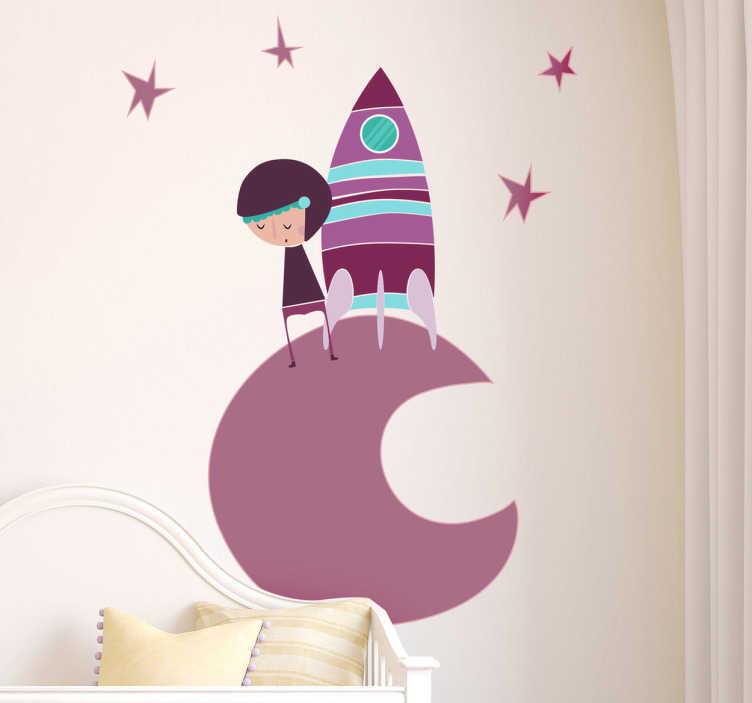 Naklejka dziecięca kosmonauta fioletowy księżyc