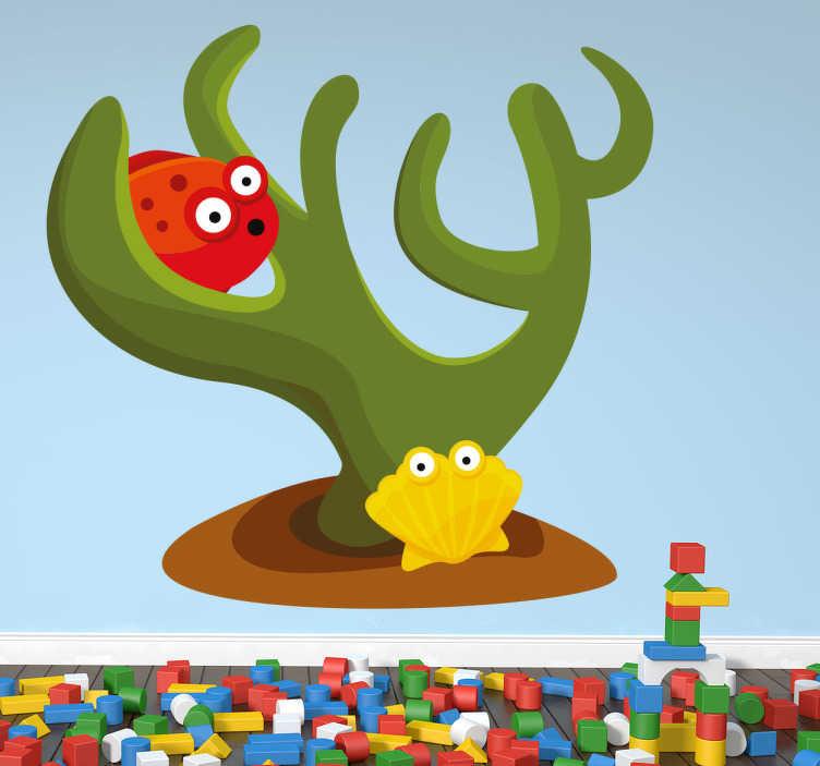 TenStickers. Sticker enfant fond marin colore. Stickers pour enfant illustrant un poisson et un coquillage de mer.Super idée déco pour la chambre d'enfant et tout autre espace de jeux.
