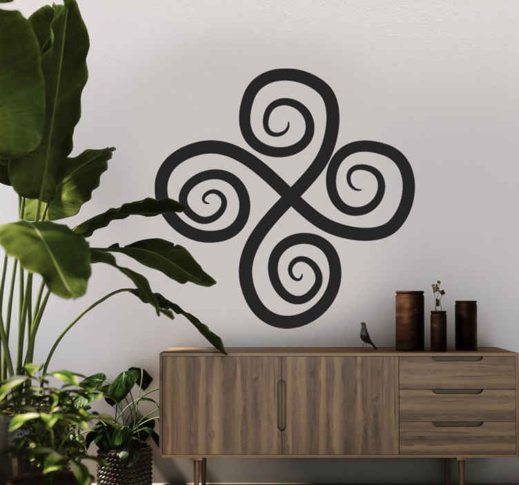 TenStickers. Sticker decorativo croce con spirali 10. Adesivo murale che raffigura una croce tribale le cui punte formano ciascuna delle spirali. Una decorazione originale per lo studio o la camera da letto.
