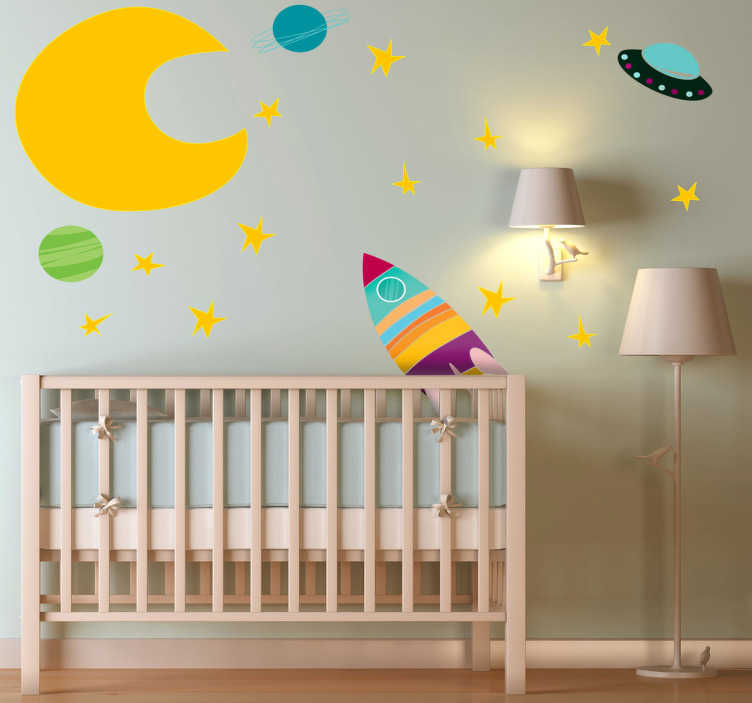TenStickers. Kids Space Rocket Wall Decal Collection. Kids Wall Stickers - Vibrant collection of space themed elements; the moon, stars, planets and spaceships. Colourful tones ideal for decorating kids rooms. Perfect space decal for providing a happy and exciting atmosphere in your child's bedroom or nursery.