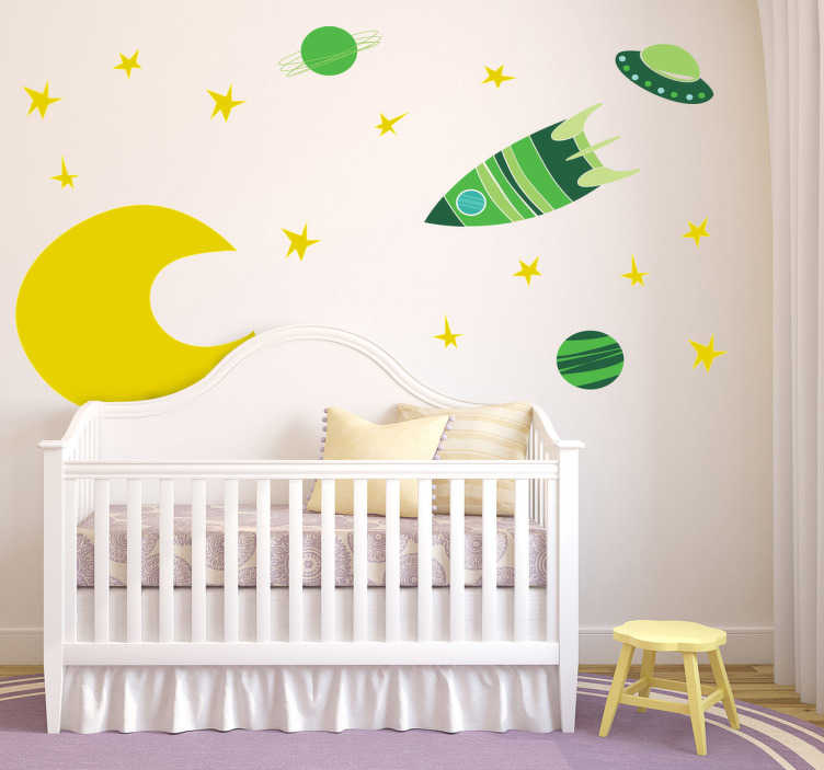 TenStickers. Kids Space Green Moon Decal Collection. A vibrant set of space themed elements; the moon, stars, planets and spaceships. Brilliant set from our collection of teal wall stickers.