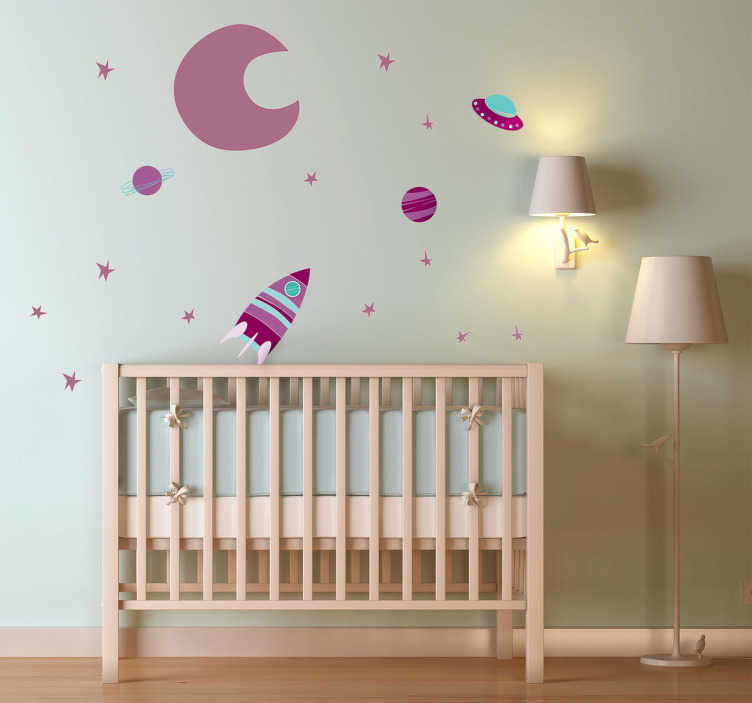 kids space purple moon decal collection tenstickers