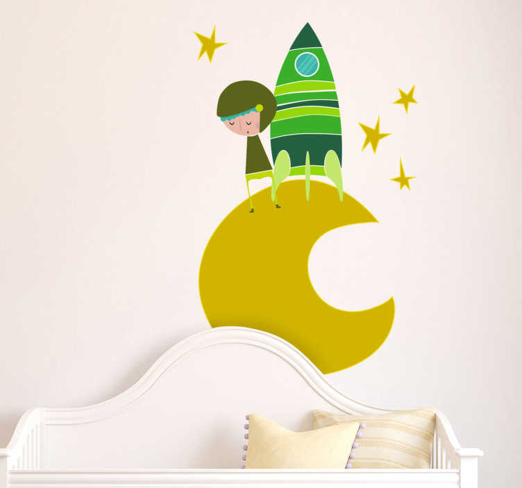 TenStickers. Green Moon Astronaut Wall Sticker. Kids Wall Stickers-Vibrant illustration of a small space explorer on the moon surrounded by stars. Ideal for decorating nurseries or kids rooms.