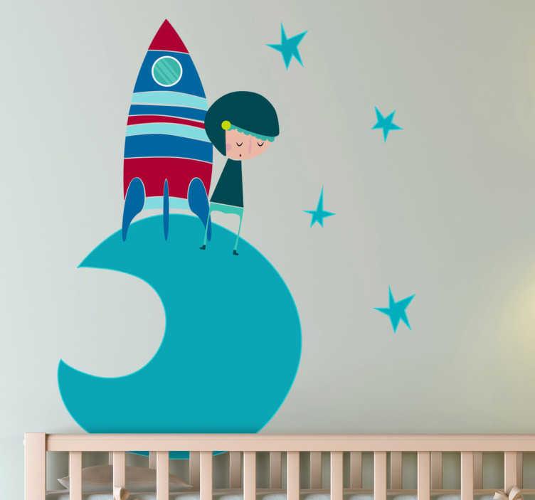 TenStickers. astronaut maan raket sticker blauw. Decoreer de kinderkamer met deze leuke astronauten muursticker! Sticker met een halve maan met een ruimteschip en een astronaut omringd door sterren.