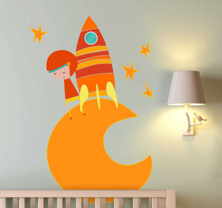 TenStickers. Orange Moon Astronaut Wall Sticker. Kids Wall Stickers-Vibrant illustration of a small space explorer on the moon surrounded by stars.
