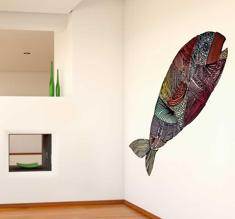 TenStickers. Wall sticker pesce stilizzato. Wall sticker decorativo che raffigura un pesce stilizzato, disegno realizato dall'artista Valentina di Blase.
