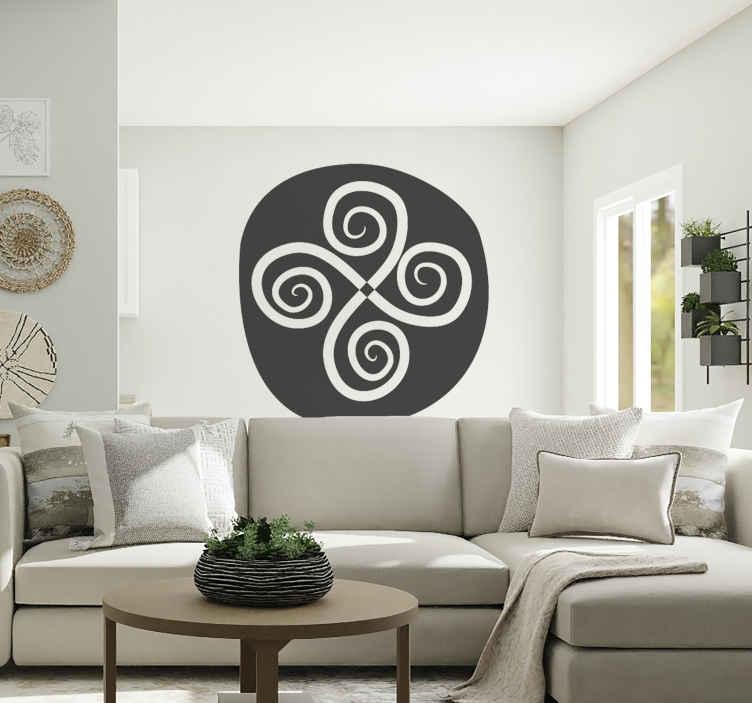TenStickers. Sticker decorativo croce con spirali 20. Adesivo murale che raffigura una croce tribale con spirali sui quattro estremi. Una decorazione originale per lo studio o la camera da letto.