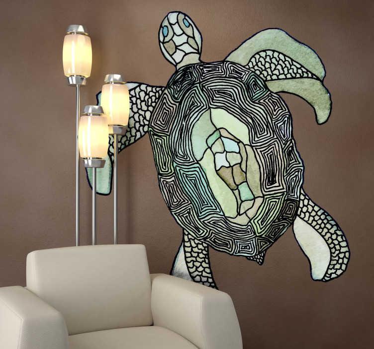 TenStickers. Wall sticker tartaruga marina. Wall sticker che raffigura una tartaruga marina. disegno realizzato dall'artista Valentina di Blase.