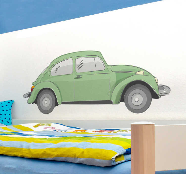 TenStickers. Green Beetle Decorative Sticker. Personalise your home with this great wall decal of the famous Beetle!