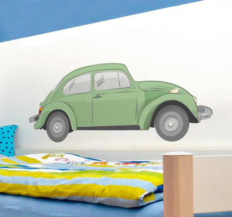 TenStickers. Naklejka zielony Beetle. Piękny zielony Volkswagen Beetle w postaci naklejki winylowej w pokoju dziecięcym i nie tylko! Dla wszystkich fanów tych stylowych i retro samochodów.