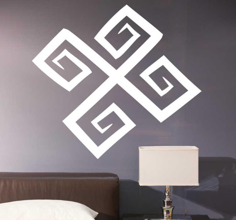 TenStickers. Vinil decorativo espiral cuadrada. Adesivo de parede com um traço rectilíneo com forma de cruz em espiral quadrada. Um vinil decorativo original para qualquer tipo de habitação.