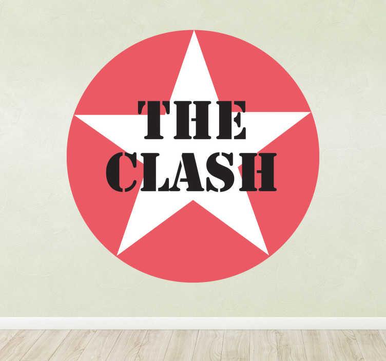 TenVinilo. Pegatina logotipo estrella The Clash. Adhesivo circular con una estrella blanco sobre fondo rojo y letras en negro de este legendario grupo.