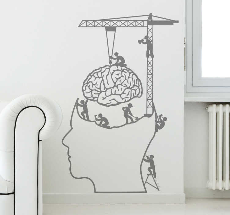TenStickers. Brain at Work Decorative Decal. This funny wall sticker shows a few workers working on the human brain! This monochrome brain decal can be personalised. Purchase a personalised sticker and choose the colour and size you like the most .
