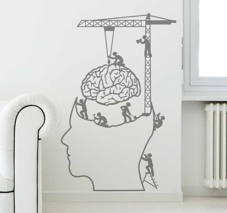 TENSTICKERS. 仕事の脳デコレーションデコレーション. この面白い壁のステッカーは、人間の脳に働く数人の労働者を示しています!このモノクロ脳デカールはパーソナライズすることができます。パーソナライズされたステッカーを購入し、最も好きな色とサイズを選択してください。