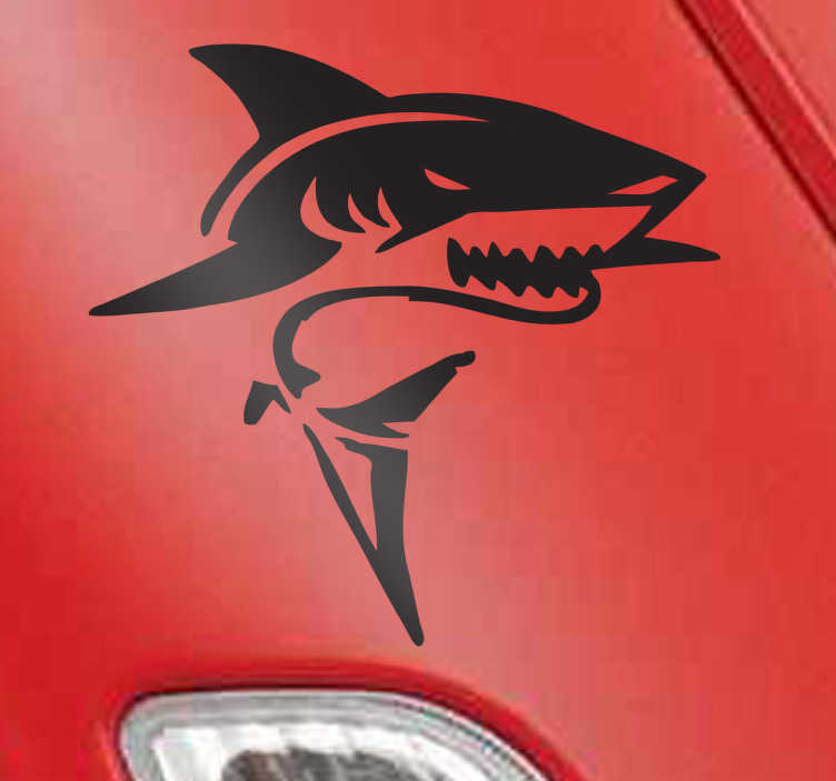 Tenstickers. Fryktelig hai-dekal. Dekaler - illustrasjon av en hard hai. Ideell for å dekorere vegger, apparater, enheter, kjøretøy og mer.