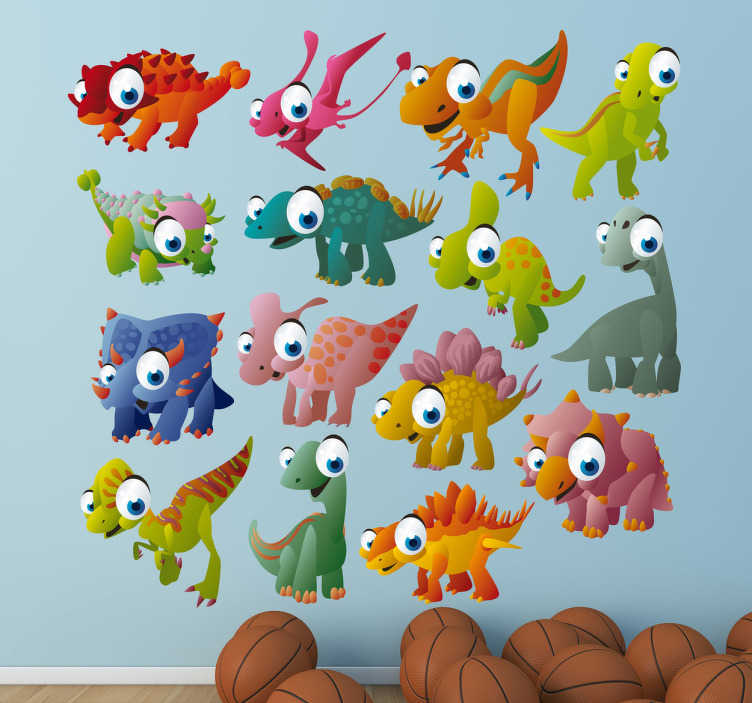 TenStickers. Dinosaur Decal Collection. Kids Wall Stickers-Fun and playful selection of colourful dinosaurs and reptiles. Made from high quality vinyl.