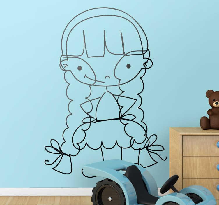 TenStickers. Sticker enfant fillette sourire. Un sticker original d'une fillette maligne vêtue d'une jupe et coiffée de deux longues tresses pour décorer la chambre de votre petite fille.