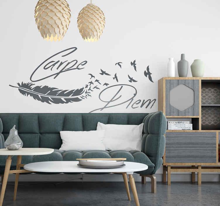 TenVinilo. Vinilo carpe diem pluma y aves. Original vinilo decorativo con esta frase en latín que te invita a aprovechar el presente.