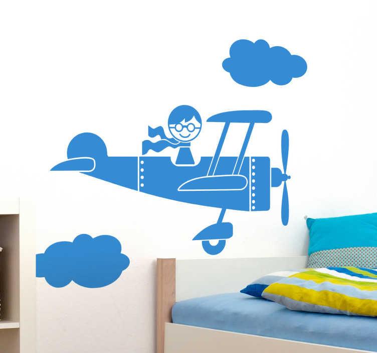 TENSTICKERS. 子供パイロット壁デカール. 子供の壁のステッカー-雲の切れ間から飛んでいる若いパイロットのイラスト。若いパイロットを目指す人に最適です。