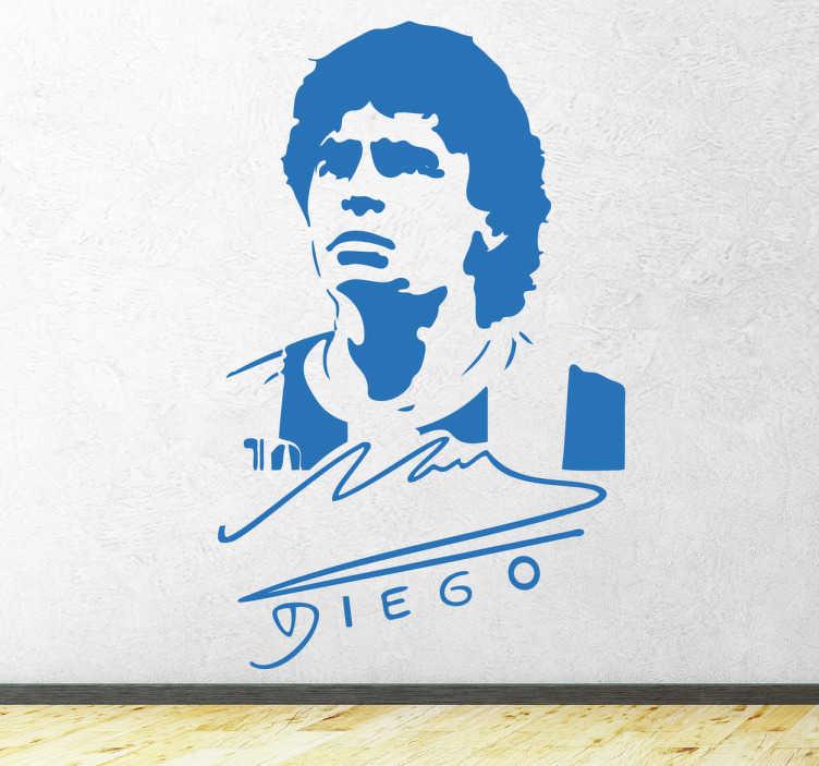 TenStickers. Stencil muro Diego Armando. Sticker murale monocolore con sagoma e firma di uno dei miti dell'universo del calcio..il calciatore argentino Maradona!