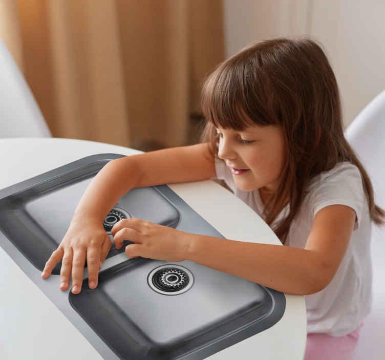 sink decal tenstickers rh tenstickers co uk kitchen sink deals 1200mm composite Removable Tile Decals