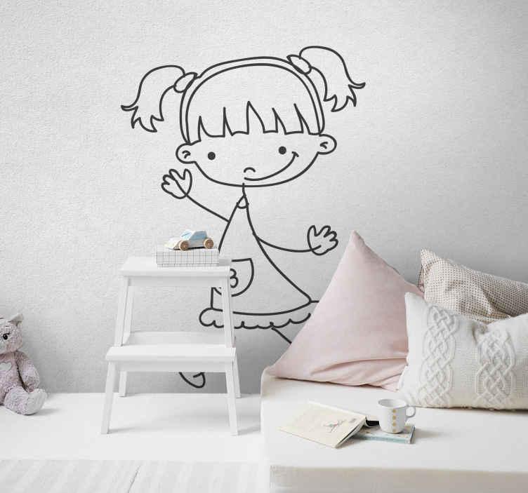 TenStickers. Sticker kinderkamer meisje staartjes. Een leuke muursticker met een tekening van een meisje met een mooi kleedje en 2 prachtige staartjes dat naar je toe wuift!
