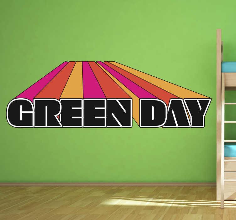 TenStickers. Sticker logo green day 3D. Een leuke muursticker met prachtige kleuren met het logo van de Noord-Amerikaanse punkband geleid door Billy Joe Armstrong.