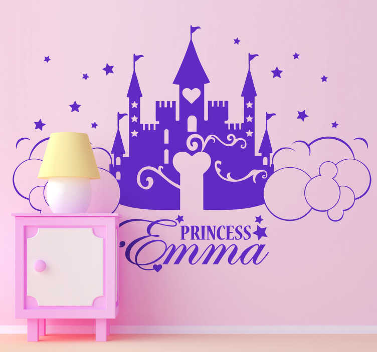 TenStickers. Naklejka na ścianę dla dzieci zamek z imieniem. Naklejka dekoracyjna przedstawiająca bajkowy zamek, oraz napis który możesz spersonalizować.