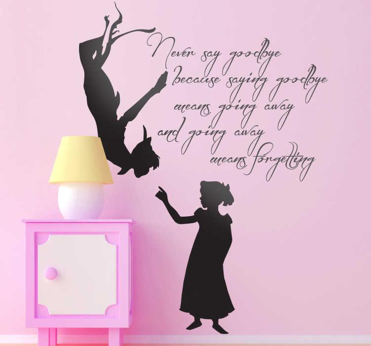 TenStickers. Muursticker tekst Peter Pan. Deze muursticker omtrent een silhouet van Peter Pan met een uittreksel van Engelse tekst. Prachtige wanddecoratie voor kinderen.