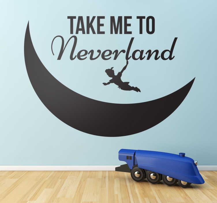 TenStickers. Sticker enfant take me to Neverland. Sticker unicolore retour au pays imaginaire avec la silhouette de Peter Pan survolant la lune.
