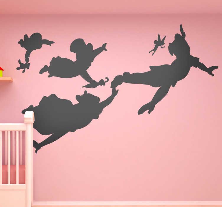 TenStickers. Sticker bambini silhouette personaggi Peter Pan. Stencil muro per la cameretta dei bambini con il profilo dei personaggi principali di questo classico amato da grandi e piccini.