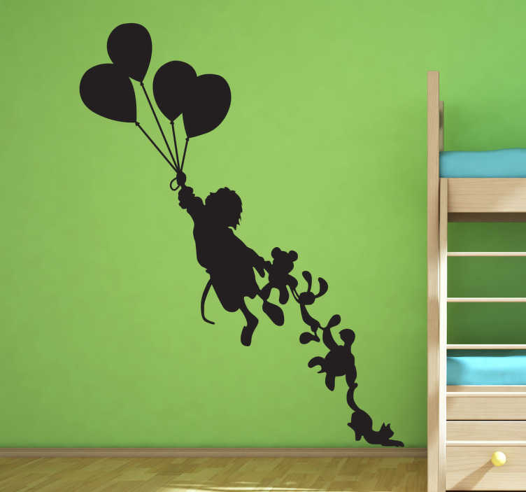 TenStickers. Naklejka na ścianę dla dzieci lecąca dziewczynka. Naklejka na ścianę dla dzieci, która przedstawia małą dziewczynkę, unoszoną przez balony i ciągnącą sznur pluszowych zwierzaków.