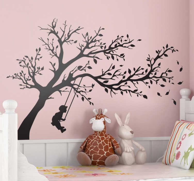 TenStickers. Wandtattoo Kinderzimmer Schaukel. Verschönern Sie das Kinderzimmer mit diesem wunderschönen Wandtattoo eines schaukelnden Kindes!