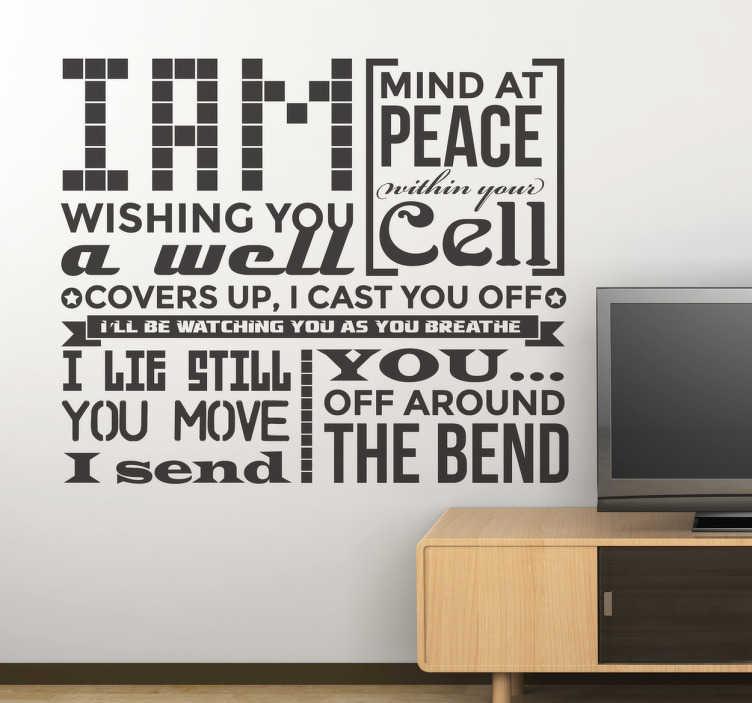 TenStickers. Stencil muro frase Pearl Jam. Adesivo murale a tema musicale con parte del testo di una fra le più celebri canzoni dei Pearl Jam. Sticker decorativo ideali per i fan del grunge.